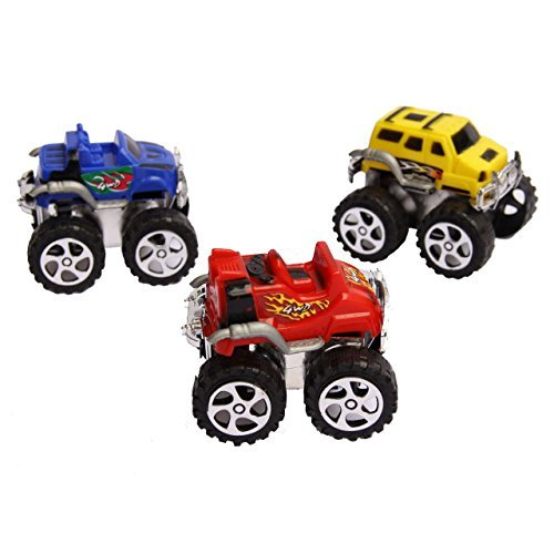 Mini Pull Back Monster Truck Toy Set - Assorted Pack of 12 Friction Pull Back Toy Vehicles | Monster Trucks Variety Pack (Pull Back and Let Go Action) for Kids Ages 3 and Up