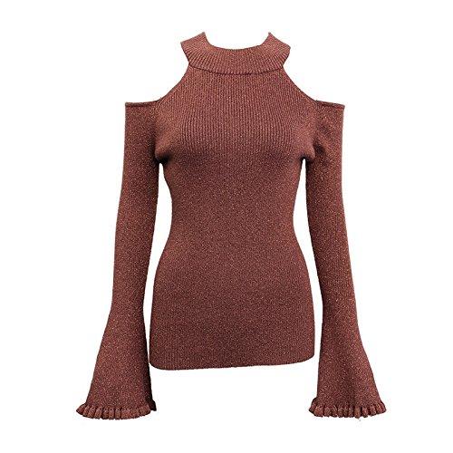 (GAOLIM Ladies Knit Shirt Fall Open Female Hollow Strapless Trumpet Turtleneck Shirt, Code 0.30Kg, Brown)