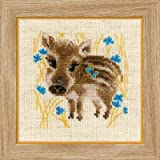 2 Cross Stitch Kit Bundle with 2 Mounting Boards: Little Owls and Little Boar, 2 5x7 Mounting Boards Included