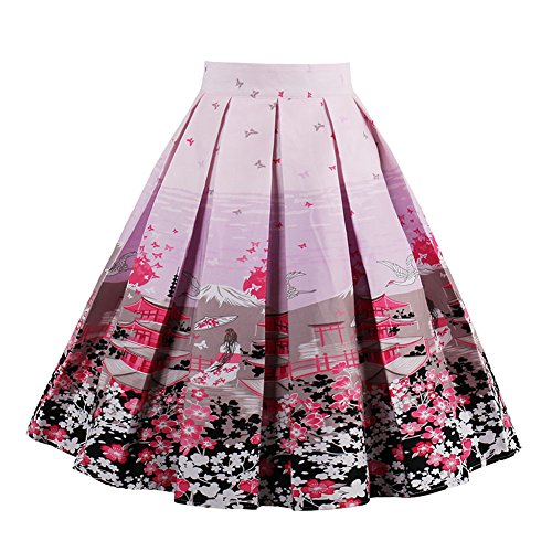 Mena UK Mujeres Vintage Plisada Swing Full Circle plisadas Floral Mini Corto faldas 21 Colores S~2XL MUK1392 12#