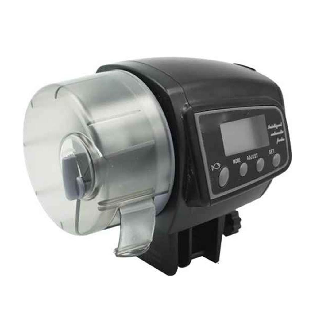 Busirde Chargeur automatique Aquarium Fish Tank /étang support mural dalimentation de distribution automatique de poisson automatique des aliments Distributeur Aquarium Accessoires Noir 7.5*10*10.5cm