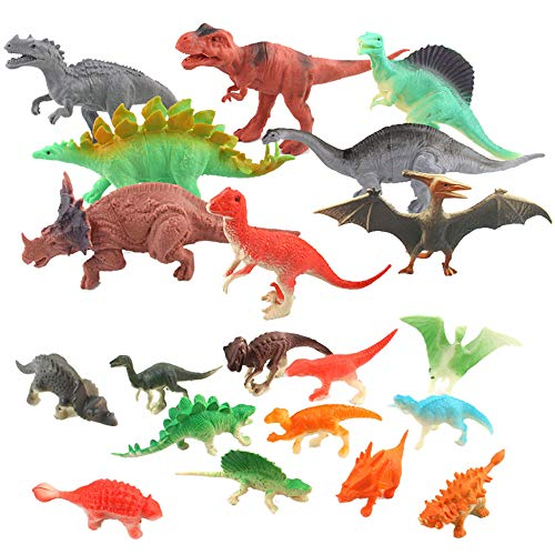 callm Dinosaur Toys Sets for Kids,20 Piece Model Toy Jumbo Plastic Jungle Dinosaurs Figures Include Triceratops, Brachiosaurus, Spinosaurus,Stegosaurus, Pterodactylus,T Rex Toy,Stem Toys -