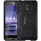 TARKAN Hard Armor Hybrid Rubber Bumper Flip Stand Rugged Back Case Cover For Asus Zenfone Go 5.5 inch ZC500TG [Black]