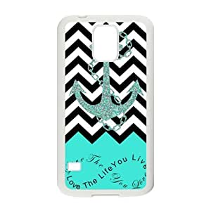 Turquoise Infinity chevron with Anchor Live the Life You Love, Love the Life You Live Pattern - Samsung Galaxy S5 SV Cover, TPU (Laser Technology) Cell Phone Case - Rubber Sides