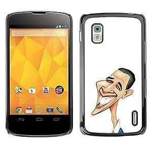 TopCaseStore / la caja del caucho duro de la cubierta de protección de la piel - Funny Art Obama - LG Google Nexus 4 E960