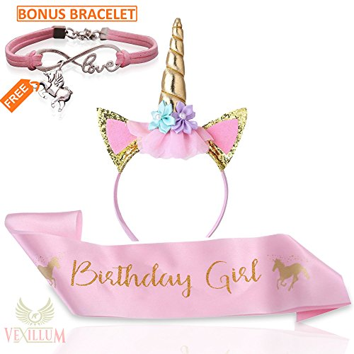 Unicorn Party Supplies, Birthday Set, Decorations, Favors, Costume, Pink Satin Sash for Girls and Gold Glitter Unicorn Headband with Glitter Blue Pink Flowers and Bracelet for Kids By Vexillum