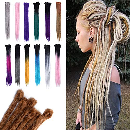 24 Inch Handmade Dreadlocks Extensions Faux Locs Hair Braids Reggae Hippie Hairpieces for Men and Women 5pcs/Pack Black to Green