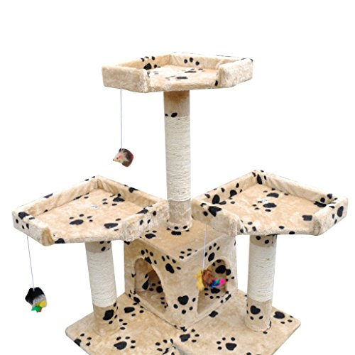 "60%OFF Daonanba Safe Cat Tree Scratching Post 67"" 2 Condos Beige with Paw Prints Beautiful Cute Cat Tree Comfortable Cat Home"