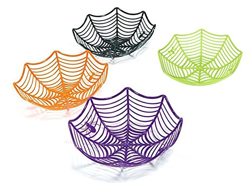 Halloween Party Spider Web Basket 4 Piece Set; Black, Green, Orange, (Scary Halloween Fruit Platter)