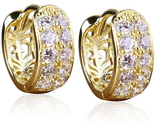 Womens Gold Plated Hoop Earrings Huggie Loop Earrings Hollow Out Flower Crystal 18k Gold 925 Sterling Silver ()