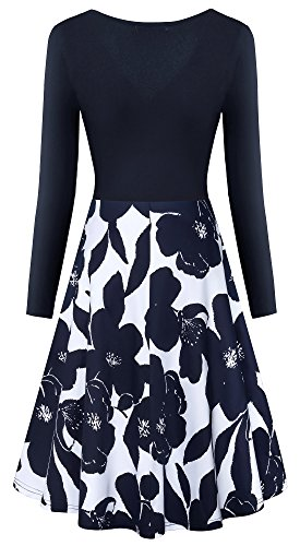 Pockets Women's Yeslife Casual 06 Long Swing Print Floral Sleeve Dress Neck Floral V wRdXdqra
