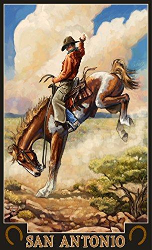Northwest Art Mall PAL-4818 BUK San Antonio Texas Bucking Bronco Print by Artist Paul A. Lanquist, 11