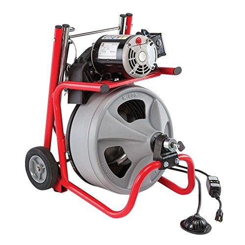 RIDGID 52363 K-400 Drum Machine with C-32 3/8 Inch x 75 Foot Integral Wound (IW) Solid Core Cable, Drain Cleaning Machine from Ridgid
