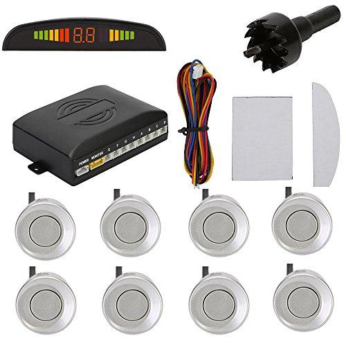 TKOOFN KFZ Summer Einparkhilfe Rückfahrhilfe 8 Sensoren 4 vorne 4 hinten Hinter mit LED Farb Display Auto Parken Sensor System Pieper Radar Silber