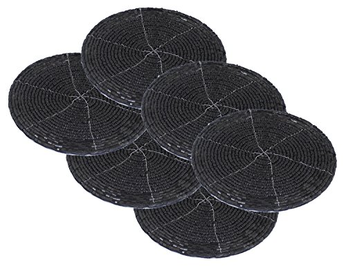 Drink Coasters Set Holder 6-Pieces Coaster Vintage Round Gift Black Table Coaster - 4 Inch