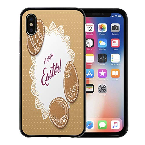 Emvency Phone Case for Apple iPhone Xs Case/iPhone X Case,Baked Happy Easter Polka Dot Lacy Doily and Egg Soft Rubber Border Decorative, -