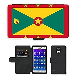 GoGoMobile Flip PU Leather Wallet Case with Credit Card Slots // V00001063 grenada National Country Flag // Samsung Galaxy Note 4 IV