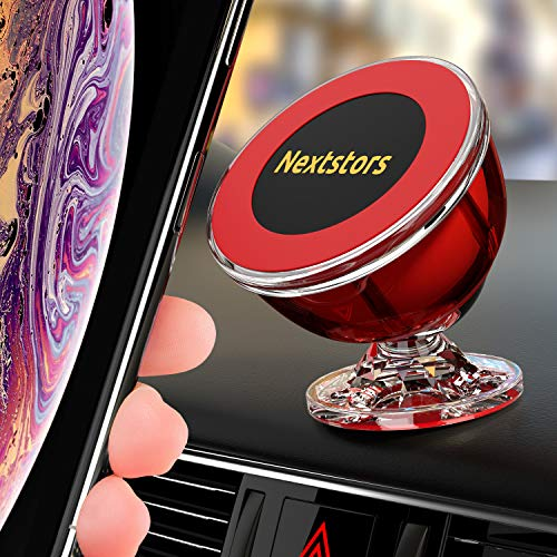 Nextstors Magnetic Phone Car Mount Universal Magnetic Phone Holder for Car 360 Degree Rotation from Dashboard Cell Phone Holder for Car Compatible with All Smartphones (Red)