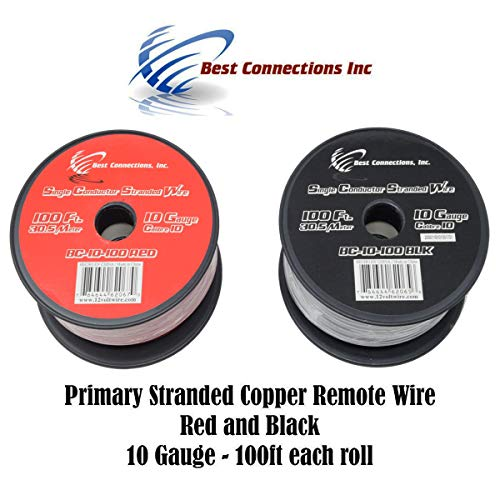 10 GAUGE WIRE RED & BLACK POWER GROUND 100 FT EACH PRIMARY STRANDED COPPER - Gauge 10 Wire Power