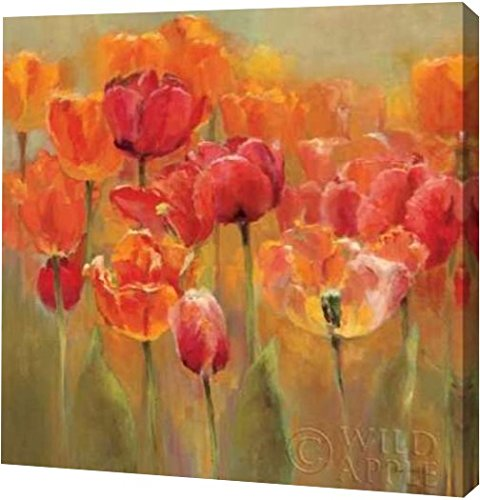 Printart Tulips In The Midst Iii By Marilyn Hageman Gallery Wrapped Giclee Canvas Art Print 40 X 40 Amazon In Home Kitchen