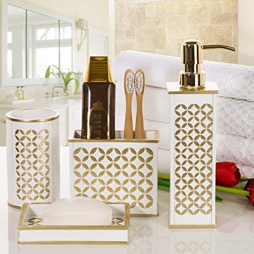 Creative scents diamond lattice bathroom accessories set for Bathroom wastebasket sets