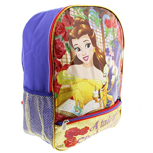 Disney Princess Belle Beauty and the Beast 16 inch Light Up Backpack (Belle Purple/Yellow) -