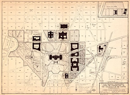 Architect Of The Capitol Washington Dc (24 x 18 Reprinted Old Vintage Antique Map of: c.1967 Map showing properties under the jurisdiction of the Architect of the Capitol, Washington, D.C. m2277)