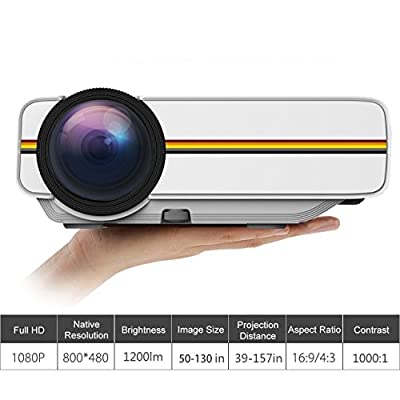 Mini Projector WEILIANTE HD Video Projector 1080P 1200 Lumen Home Theater Projector Support iPhone Android iPad Tablet Connection via AV/VGA/USB/SD/HDMI Input