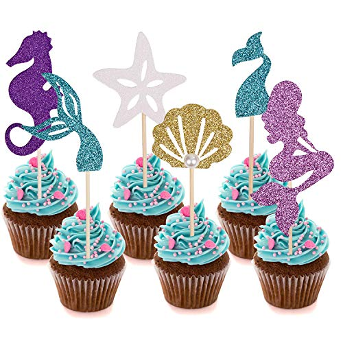 Since1989 24 Pcs Glitter Mermaid Cupcake Toppers, Mermaid Party Supplies Favors for Baby Shower, Birthday Party, Mermaid Theme Party, Under the Sea Party ect.