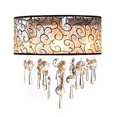 Ceiling light ANNT Elegant Transparent Crystal Pendant Lamp Drum Flush Mount Modern Ceiling Light Fixture with 4 Lights for Bedroom, Living Room