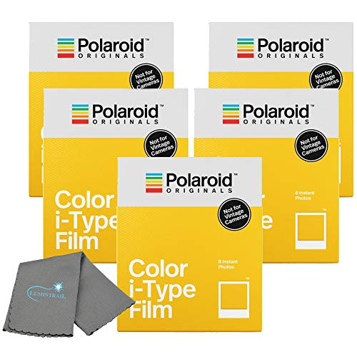Polaroid Originals Instant Color Film for i-Type Cameras 5 Pack, 40 Instant Photos Bundle with a Lumintrail Cleaning Cloth