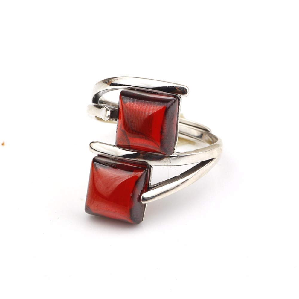 Vintage S925 Silver Ring Womens Simple Opening Square Pomegranate Red Fashion Creative Gift Personality Trend