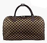 Ecokaki(TM) Oversized Travel Shoulder Bag Leather Canvas Casual Travel Tote Luggage Duffle Handbag, Coffee-Grid by Ecokaki