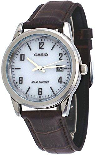 Casio MTP-VS01L-7B2 Men s Standard Solar Leather Band Grey Dial Date Watch