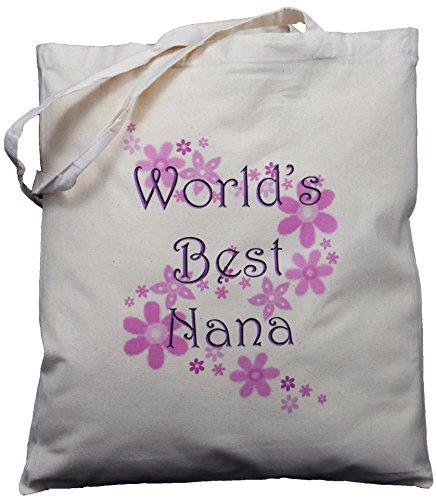 World's Best Nana - Natural Cotton Shoulder Bag - Grandparent's Day Gift