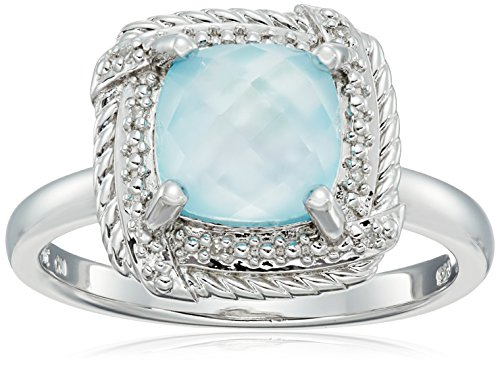 (Sterling Silver Cushion Rope White Mother-of-Pearl Over Baby Blue-Topaz Doublet and Diamond Accent Ring, Size 8 )