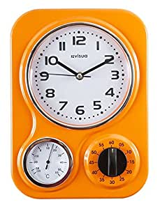 NIA Metal Retro Kitchen Clock with Mechanical Timer and Temperature Gauge (Orange)