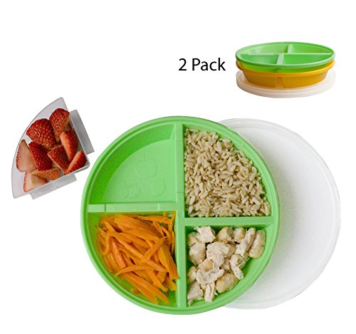 - BPA-Free Divided Plates for Kids with Lids [2-Pack] - Microwave & Dishwasher Safe Lunch Containers with Lids for Balanced Meals - Plates with Dividers & Removable Fruit Section [Green/Orange]