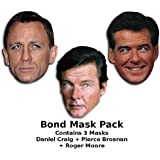 Set de máscaras de James Bond, incluye Daniel Craig, Roger Moore y Pierce Brosnan