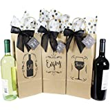 Wine Bottle Gift Bags for All Occasions. Set of 6 Includes Tissue Paper, Gift Tag and Twist-Tie Bow. Bags Made in USA of 100% Recyclable Materials. Pack of 6 Single-Bottle Bags, Kraft Brown.