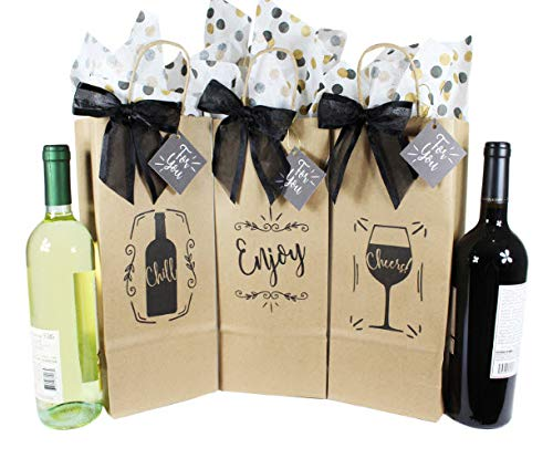 Wine Bottle Gift Bags for All Occasions. Set of 6 Includes Tissue Paper, Gift Tag and Twist-Tie Bow. Bags Made in USA of 100% Recyclable Materials. Pack of 6 Single-Bottle -