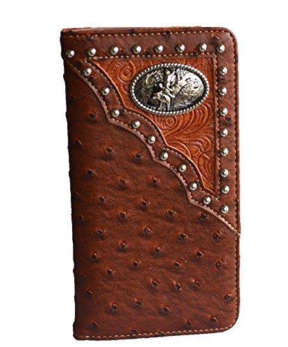 western brown tan bull rider concho studs slim men checkbook wallet