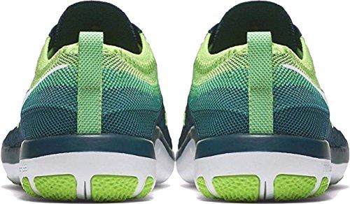 Nike Womens Free Transform Flyknit Trainingsschoenen Middernacht Turkoois / Wit-elektrisch Groen