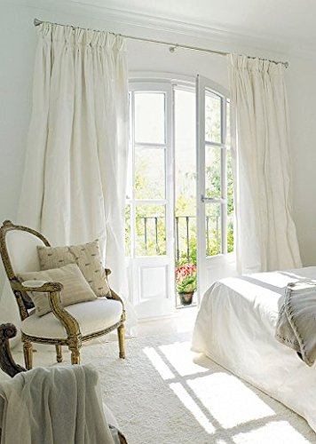 French pleated curtain 100% silk dupion white lined 50