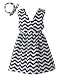 Spring&Gege Little Girls' V-Neck Striped Dress with Hair Band Backless Bow Sundress Size 6-7 Years Blue