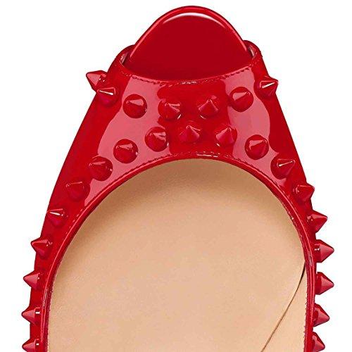 Arc-en-Ciel bombas de zapatos de tacón alto del dedo del pie del pío del cuero de patente del remache de las mujeres Rojo