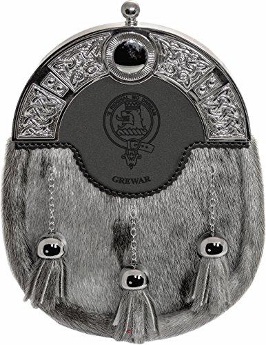 Grewar Dress Sporran 3 Tassels Studded Targe Celtic Arch Scottish Clan Name Crest