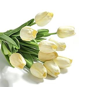 ASSR Real-Touch Artificial Tulip Flowers, 10Pcs Home Wedding Party Decor Arrangement Flowers 104