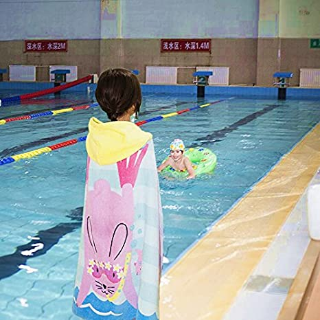 Kids Hooded Poncho Beach Towel - Cotton Boys Girls Bathrobe Swim Bath Blanket