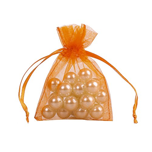 Ling's moment 3x4 Inch Sheer Organza Gift Candy Bags (100, Orange)